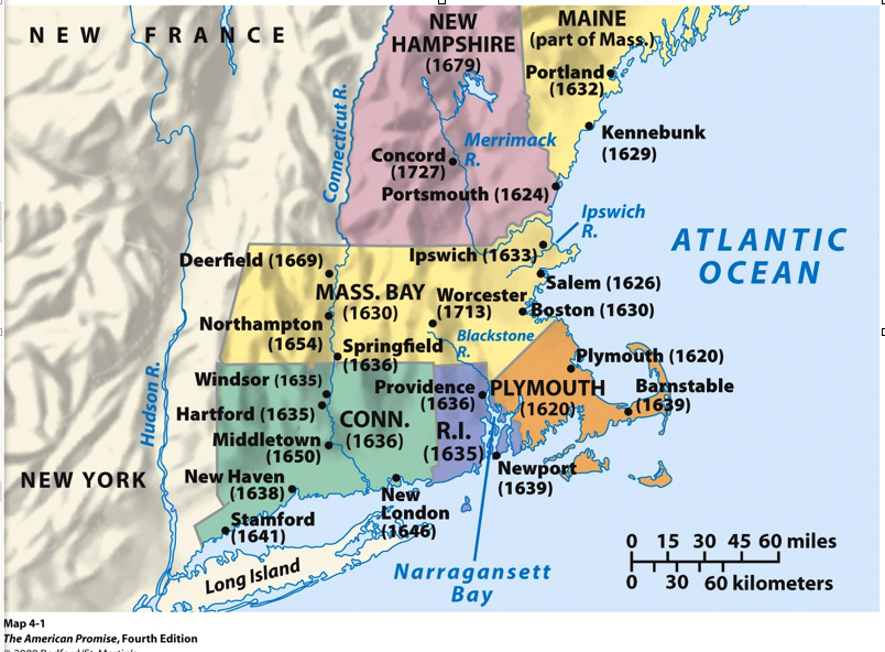 BTHS United States History British Colonies Map - Us map new england